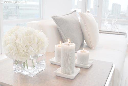 Premier Homes - Winter Colour Trends - White Decor - Cushions, Candles